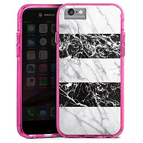 Apple iPhone X Bumper Hülle Bumper Case Glitzer Hülle Marmor Schwarz Weiß Stripes Streifen Bumper Case transparent pink