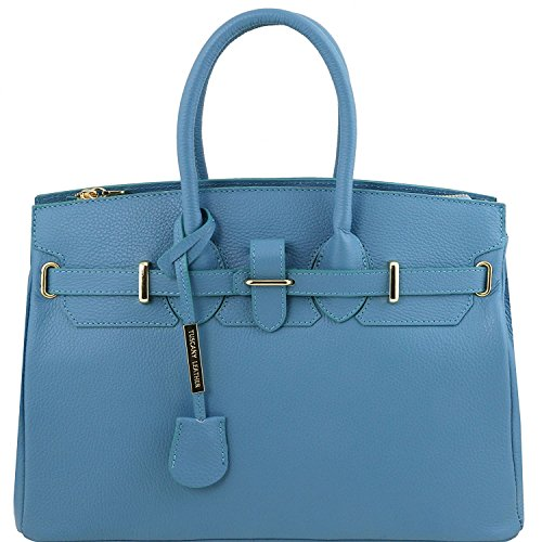 Tuscany Leather - TL Bag - Sac à main pour femme avec finitions couleur or - TL141529 (Bleu céleste) Bleu céleste