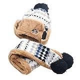 Babybekleidung Hüte & Mützen Longra Hairball Auto Baby Winter warme Mütze Schal Jungen Mädchen Kleinkinder Hüte Mützen Schal (2-10 Jahre) (Black)