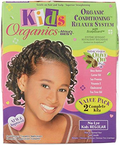 Africa's Best Organic - Value Pack de défrisage pour enfant - A base d'huile d'olive - Sans soude - Cheveux fins à normaux