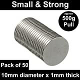 50 Very Strong Neodymium Disc Magnets (10mm x 1mm) POWER MAGNET STORE