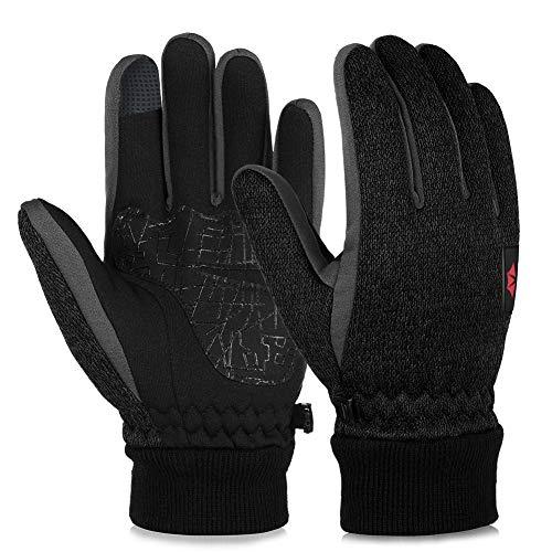 Vbiger Touchscreen Handschuhe Fleece Handschuhe Winterhandschuhe Warme Handschuhe Sporthandschuhe, Dunkelschwarz, L