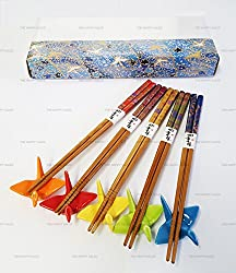 Happy Sales 5 Pairs Colorful Crane Rests and Floral Design Chopsticks
