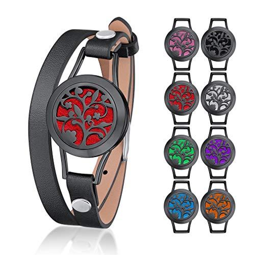 nde Ätherische Öle Diffusor Medaillon Armband Edelstahl-316 Leder, hohl Schmetterling Magnetverschluss Aroma offenes Armband 35cm, 8 Pads ()
