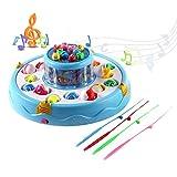 GreensKon Elektro Angeln Spielzeug, 26 Fische 4 Angelruten 2-Schicht-Teich Pädagogischen Spielwaren Drehende Magnetischer Angelspiel für Eltern Kinder Interaktion Imagination (Rosa und Blau zufällig)