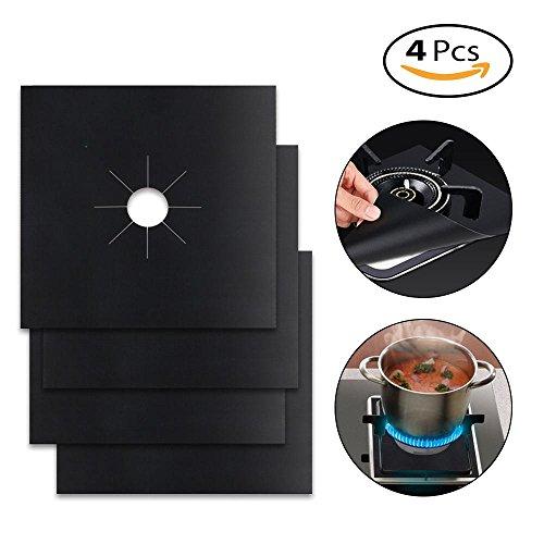 Umiwe Protections de cuisinière à gaz réutilisables Couvercles de brûleur antiadhésifs pour cuisinière 0,12 mm Double épaisseur, 10,6 x 10,6 po pour lave-vaisselle (paquet de 4)