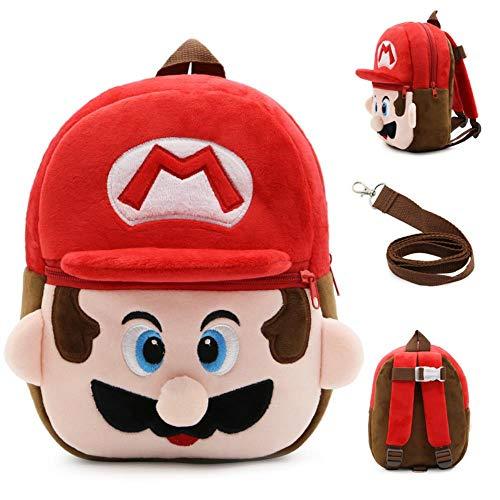 SWVV Jungen und Mädchen Unisex Anime Cute Cartoon Spielzeug Tasche Anti-verlorene Kinder Schultasche Hals Umhängetasche Rucksack Anti-verlorene Mario