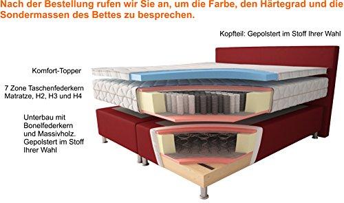 Aukona International Boxspringbett Leopold, 7-Zonen Taschenfederkern, mit Komfort Topper, Kostenlose Anlieferung und Aufbau, Boxspringbetten