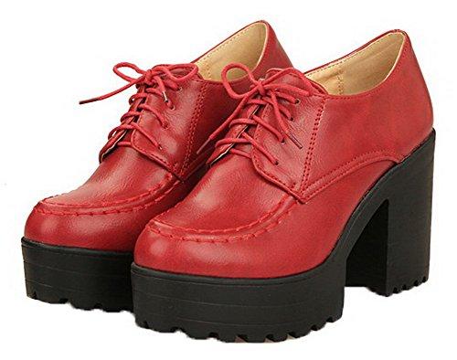 VogueZone009 Femme à Talon Haut PU Cuir Couleur Unie Lacet Chaussures Légeres Rouge