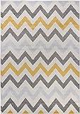Carpetforyou Moderner Kurzflor Teppich Waves Wellen Zickzack bunt in 4 Größen für Wohnzimmer oder Jugendzimmer (160 x 230 cm)