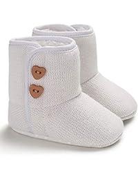 Botas Bebé Unisex de Nieve de Niñas Niños del Botón de Fondo Suave de Algodón Botines Niña Invierno Acogedor Zapatos de Bebé Botines…