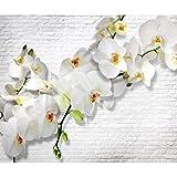 decomonkey | Fototapete Blumen Steinwand Stein 350x256 cm XL | Tapete | Wandbild | Wandbild | Bild | Fototapeten | Tapeten | Wandtapete | Wanddeko | Wandtapete | Orchidee Ziegel Pflanzen Weiß gelb