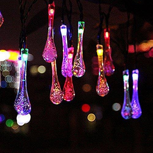 Wetterfeste LED Lichterkette Warmweiss Solar Außen mit batterie, 6.5 Meter 30 LED Kristall Wassertropfen 8 Modi Weihnachtsbeleuchtung für Haus, Garten, Rasen, Weihnachten, Hochzeit und Urlaub Dekoration (Mehrfarbig)