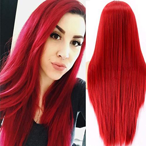 ATAYOU® 24 Zoll Damen Rot Perücken Lange Gerade Helle Rot Synthetische Perücken Natürliche Weiche Hitzebeständige Perücke (Rot A)
