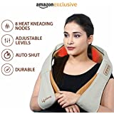 Lifelong LLM63 Electric Neck, Shoulder and Back Massager with heat kneading nodes for pain and stress relief, Multifunctional with Adjustable Speed, Electric/Car Charging Mode (Brown)