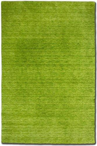 Morgenland Gabbeh Teppich Uni Grün Dunkelgrün Einfarbig Handgewebt Schurwolle, Größe:300 x 80 cm Läufer, Farbe:Lindengrün -