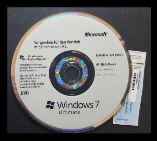 Ultimate Download 7 Windows (Windows 7 Ultimate 64-Bit DVD SP1 + OEM Lizenz Multilanguage)