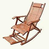 QFFL Schaukelstuhl Erwachsene Mittagspause Bambus Schaukelstuhl Außen Faltbare Lounge Sessel Ältere Freizeit Schaukelstuhl Outdoor Hocker (Farbe : A)