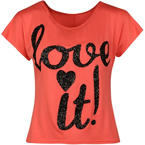 F & F Damen-Funkeln-Druck-T-Shirt Ernte-Aus Schulter-Oberseiten-Frauen Sleeveless Weste 36-42 Koralle
