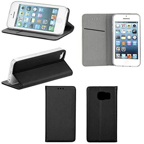 Handyschale24 Alcatel One Touch Pixi 4 4.0 4034D Smart Book Flip Case Schwarz mit Standfunktion Kartenfächern und Magnetverschluss Handy Tasche Wallet Schutz Hülle Bumper Cover Handyhülle Etui