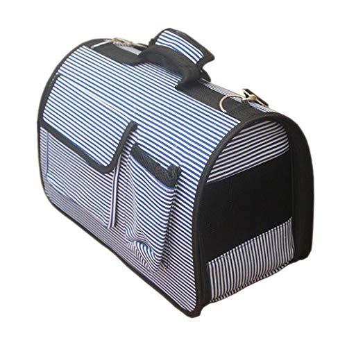 Ausflug Haustier Box Käfig Rucksack Schulter Katze Und Hund Tragbare Reise Transport Auto Versand 3 Farbe 40 * 20 * 26 cm Liuyu. (Color : Blue Stripes) -