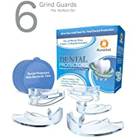 Mouth Guards For Teeth Grinding x 6 (3 sizes) | Dental Mouth Guard Teeth Whitening Tray | Teeth Grind Night Guard | TMJ Tooth Guards For Teeth Grinding, Bruxism and to Stop Clenching Teeth