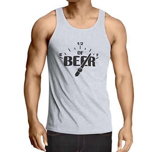 lepni.me Singlete Jauge de Carburant, pour Les buveurs de bière, Concert, fête ou Bar Humour (XX-Large Blanc Noir)