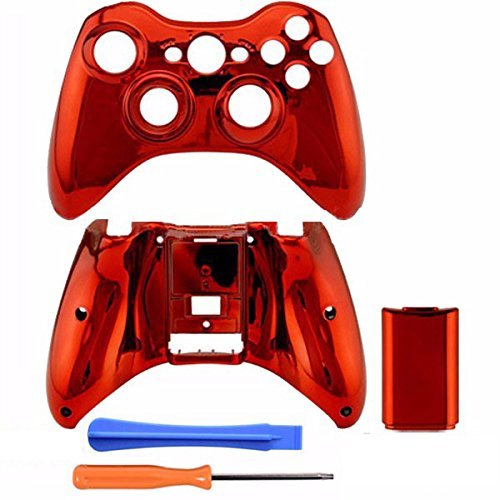 Hihouse Chrome Plastic Top Bottom Shell Case + Battery Cover for Xbox 360 Wireless Controller Mod Kit (rote)