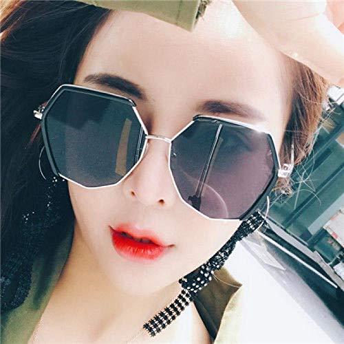 Polygonal Sonnenbrille weiblichen koreanischen Version der Retro-Retro-Sonnenbrille Mode Brille rundes Gesicht Goldrahmen grauer Film (HD polarisierte Version), Goldrahmen grauer Film (HD polarisiert