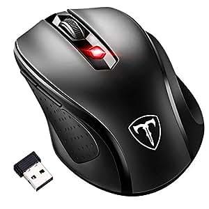 [Updated Version] VICTSING Mini Maus kabellos Wireless Mouse, 2.4G Funkmaus, 2400 DPI 6 Tasten Optische Mäuse mit USB Nano Empfänger Für PC Laptop, Microsoft Pro, Office Home,Schwarz