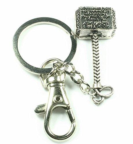 Thor portachiavi anello ciondolo a forma di martello Design accessori argento antico super bello