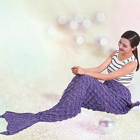 Mermaid Tail coperta per adulti e bambini, Crochet Snuggle tiri liberi con pattern maglia, Soft sofà della coperta (Pesce-scale viola, 74.8x 35.4 pollici)