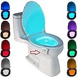 Lámpara inodoro lámpara nocturna para baño WC LED Luz nocturna batería con sensor de movimiento 8cambio de colores (8colores)