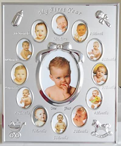Silver Colour 'My First Year' Baby Multi-Photo Frame holds 13