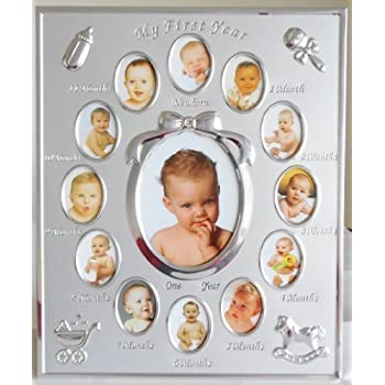 silver colour my first year baby multi photo frame holds 13 photos - My First Year Picture Frame
