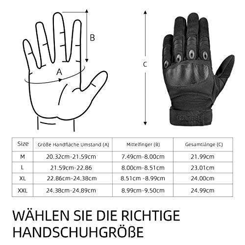 [Sport Handschuhe] FREETOO Motorrad Handschuhe Herren Vollfinger Army Gloves Ideal für Airsoft, Militär,Paintball,Airsoft, lebenslange Garantie - 6