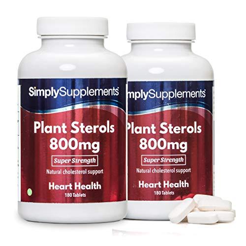 Esteroles vegetales 800mg - 360 comprimidos - Hasta un año de suministro - Ayuda a reducir los niveles de colesterol - SimplySupplements