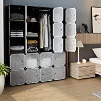 Qualife Cube DIY Storage Organizer Clothes Wardrobe Modular Closet Bookshelf with Doors Hanging Rod Plastic Cabinet Shelving Storage Portable for Home Decal Bedroom 20-Cube