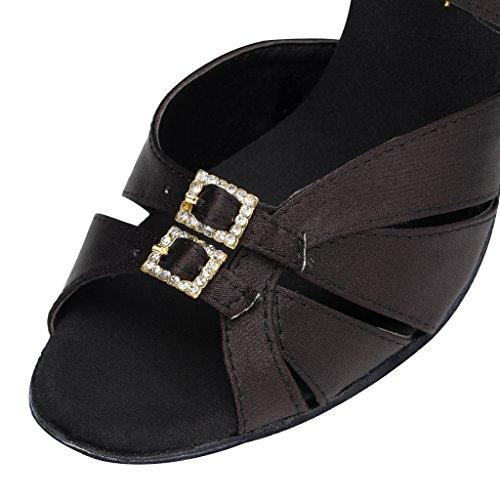 Minitoo–th153fibbia Tacco Alto Raso Matrimonio Ballo Latina taogo Dance Sandals Nero (nero)