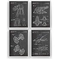 Star Wars Affiche De Brevet - Lot De 4 Affiches - Impressions Prints Art Patent Posters Poster Cadeaux Pour Hommes Décor Femmes Lui Blueprint Plan - Cadre Non Inclus