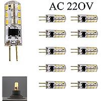 10 pezzo LED Risparmio Energetico Lampada G4 AC 220V 1.5W 120LM 3200K Bianco Caldo (AC 220 Volt)