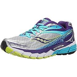 Saucony Ride 8, Zapatillas de Running para Mujer, (Silver/Purple/Blue), 42 EU