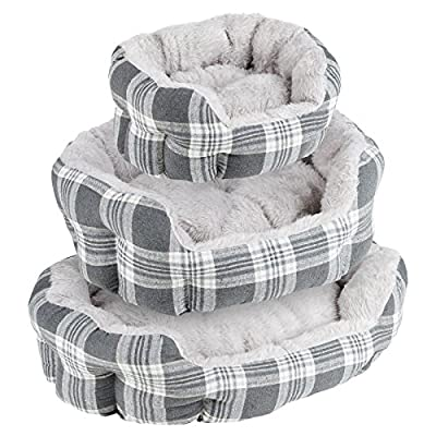 Me & My Plush Padded Grey Check Pet Bed - Choice of Size by Me & My Pets