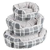 Me & My Pets - Haustierbett mit Plüsch gepolstert - grau kariert - Verschiedene Größen