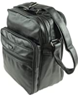 Stabile Arbeitstasche Flugumhänger Flugbegleiter Umhängetasche Messenger Bag schwarz Hochformat