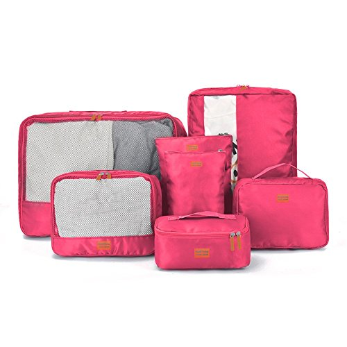 Giancomics® 3 Pcs Kofferorganizer Packtaschen Koffer Wäschtaschen Kleidertaschen Luggagebags Packwürfel Set Haushaltsware Reise Pack (Schwarz - 3 Pcs) Pink -7 Pcs