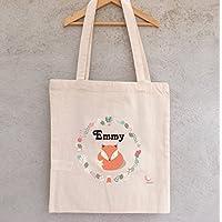 """Tote Bag """"Petit Renard"""" à personnaliser - sac hiboux à personnaliser - sac shopping - sac de course - sac personnalisé - tote bag personnalisé"""
