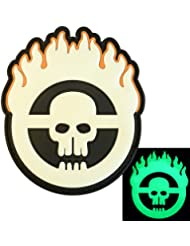 Glow Dark Mad Max Fury Road Crâne Flames PVC Gomme 3D Fastener Écusson Patch