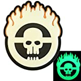 Glow Dark Mad Max Fury Road Cranio Flames PVC Gomma 3D Fastener Toppa Patch