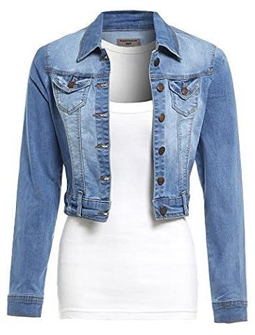 SS7 Nouvelles Femmes Extensible Veste En Jeans, Tailles 36 à 44 - Femme, Jean Bleu, EU 42